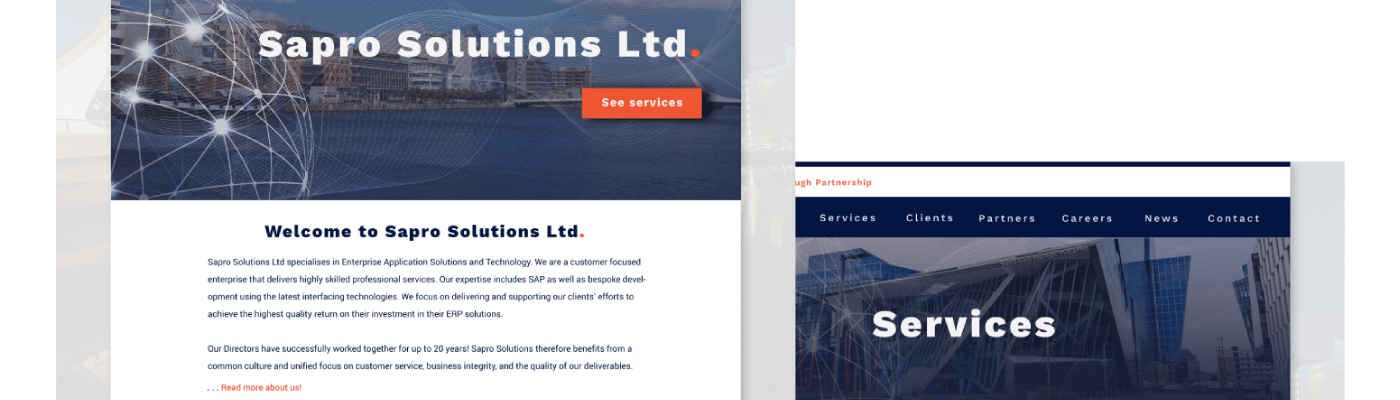 sapro solutions home and services pages