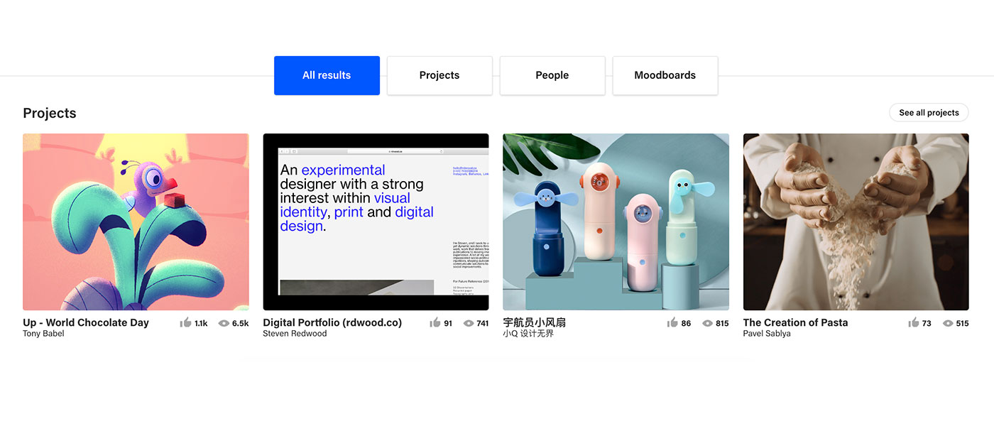 all results feature behance
